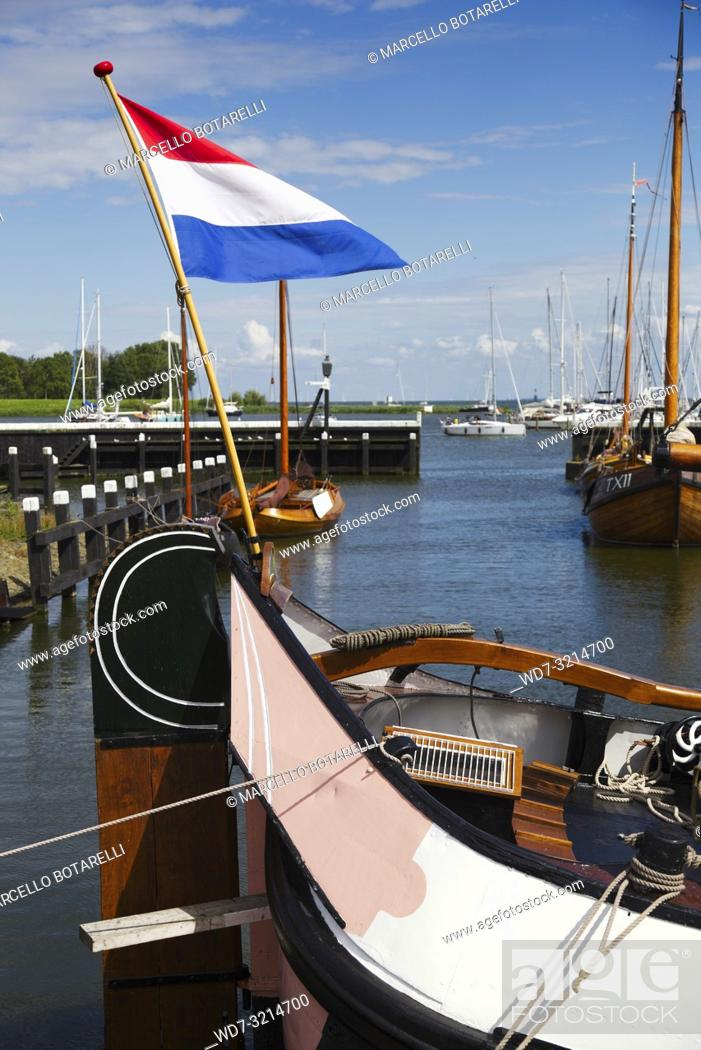 Stock Photo: Detail of boat moored in the marina of Enkhuizen, in northern Holland, a typical fishing village.