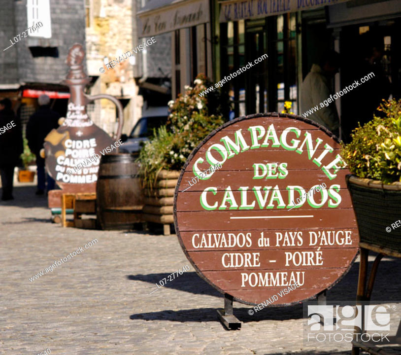 Stock Photo: Sign for cider, calvados, pommeau and other alcohols. Honfleur. Normandy, France.