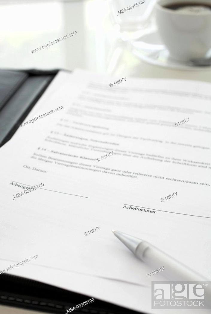 Document Employment Contract Pen Detail Series Form Writing