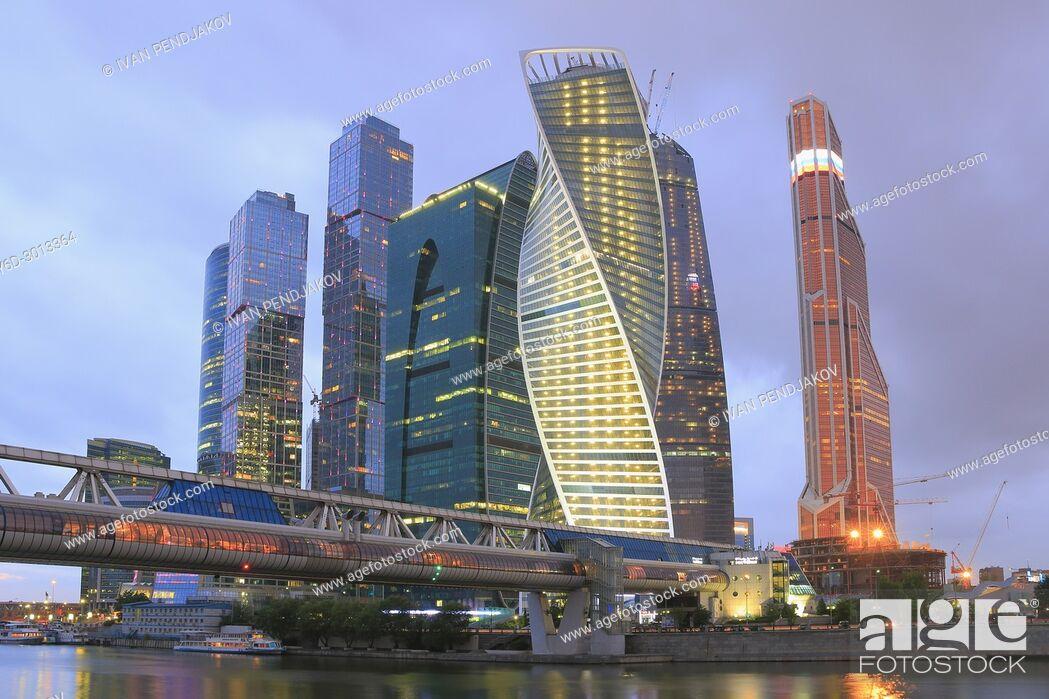 Imagen: Moscow International Business Center at Dusk, Russia.