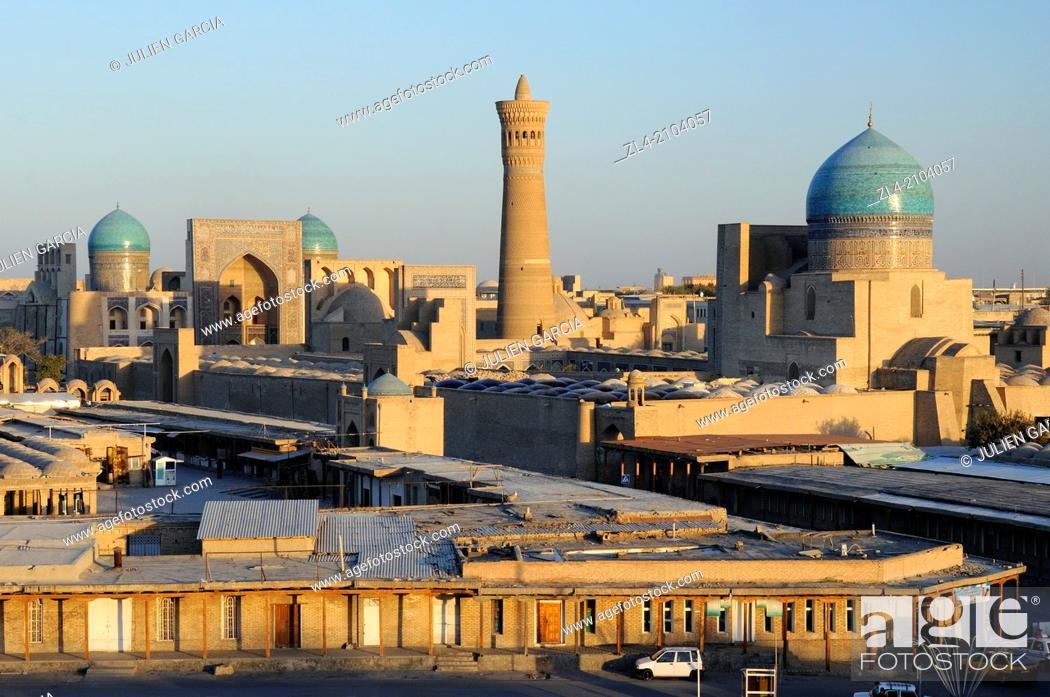 Stock Photo: The historic centre of Bukhara viewed from the Ark citadel. Uzbekistan, Bukhara.