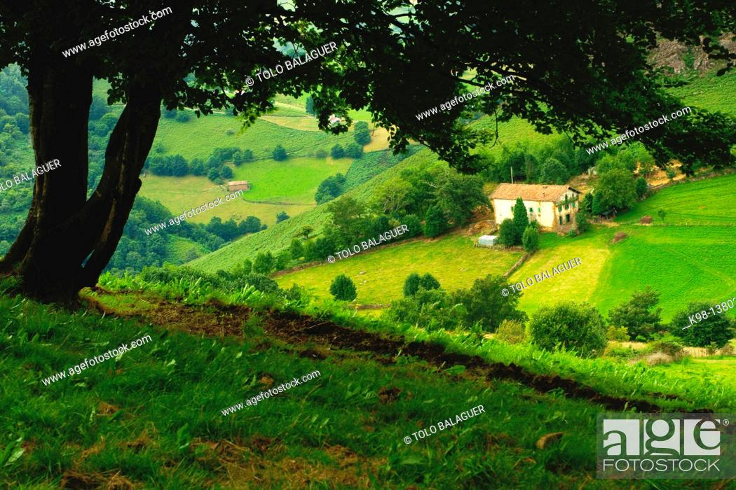 Stock Photo: Caserio Echegaray, GR11 long distance footpath, Baztan Navarra Pyrenees Mountains Spain.