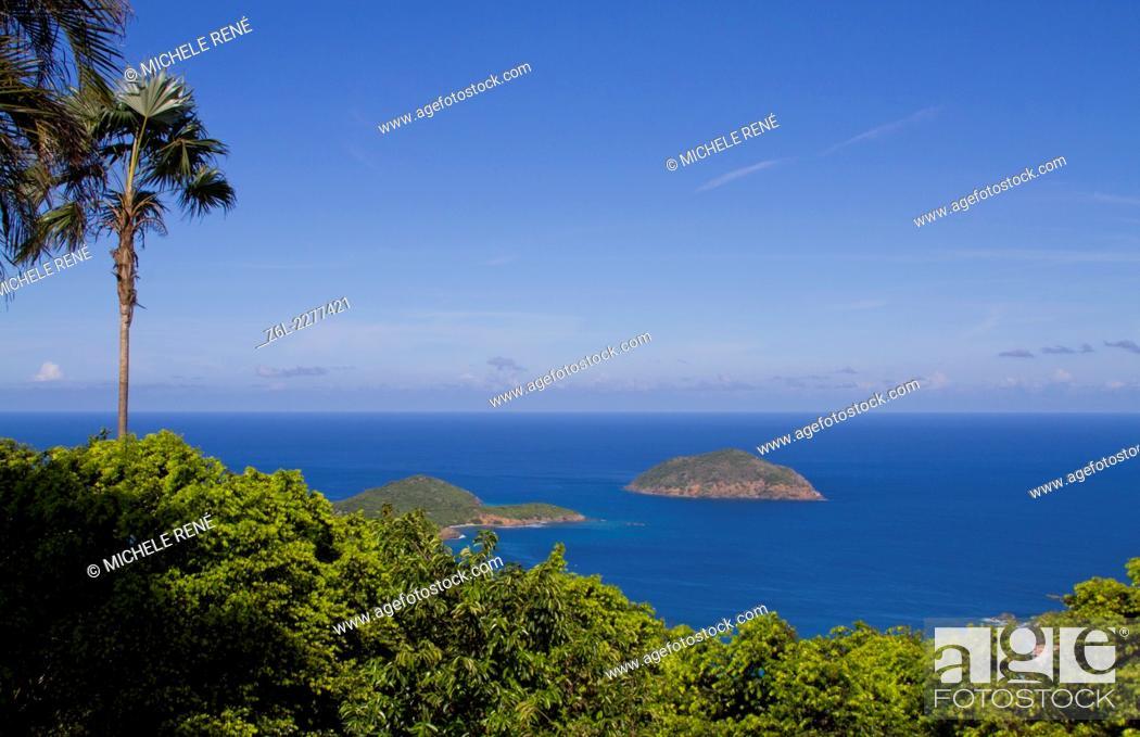 Stock Photo: Tropical Island view of Atlantic Ocean in St Thomas US Virgin Islands.