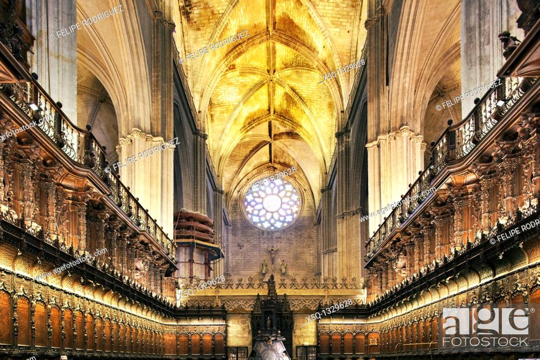 Stock Photo: Choir of Santa Maria de la Sede Cathedral, Seville, Spain.