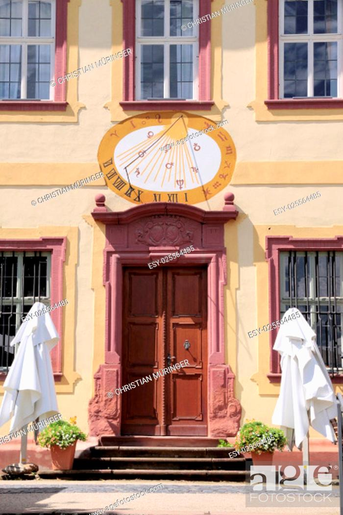 Stock Photo: Summer, Old, Architecture, Style, Light, Tourism, Yellow, Germany, Bright, Historic, Culture, Sun, Sunny, Construction, German, Shadow, Time, Shine, Palace, Serenity, Door, Sightseeing, Entrance, Angle, Clock, Goal, Gate, Measure, Astronomy, Measurement