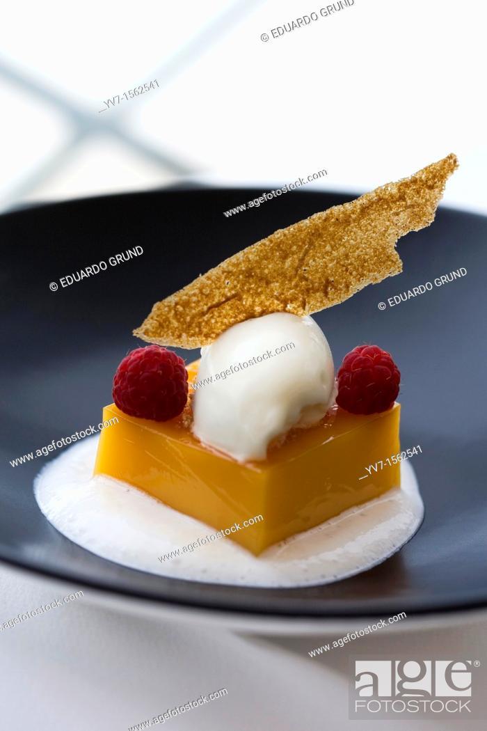 Stock Photo: 'Tocinillo de Cielo' on yogurt foam and baked apple ice cream  Coruña, La Coruña, Galicia, Spain, Europe.