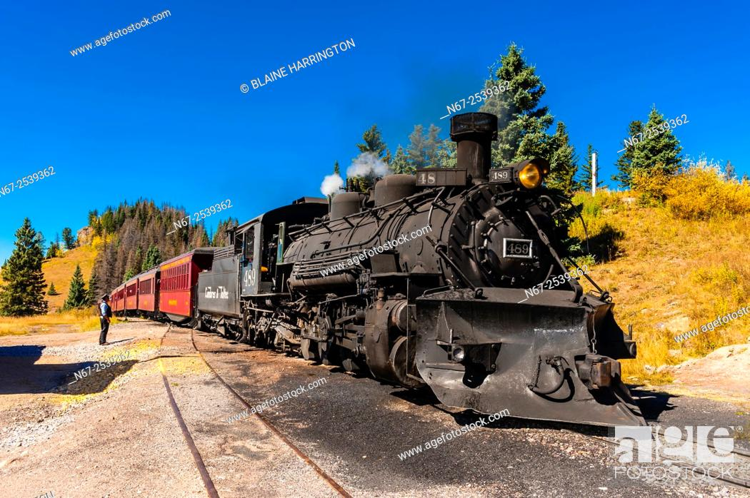 Stock Photo: The Cumbres & Toltec Scenic Railroad train pulled by a steam locomotive on the 64 mile run between Chama, New Mexico and Antonito.
