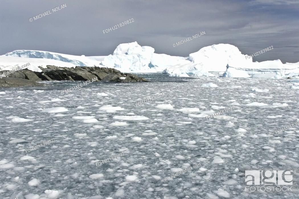 Imagen: Huge icebergs and brash ice near Petermann Island on the west side of the Antarctic Peninsula.