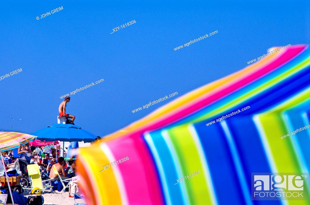 Stock Photo: Crowded summer beach with colorful umbrellas, Nauset Beach, Cape Cod National Seashore, Cape Cod, MA, Massachusetts, USA.