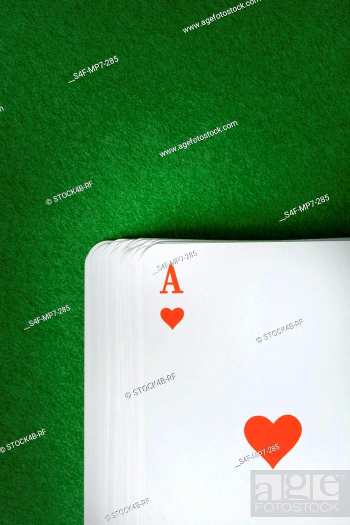 Stock Photo: Ace of hearts on deck.