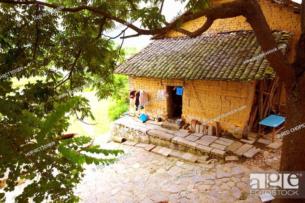 Stock Photo: High angle view of a house, Yangshuo, Guangxi Province, China.