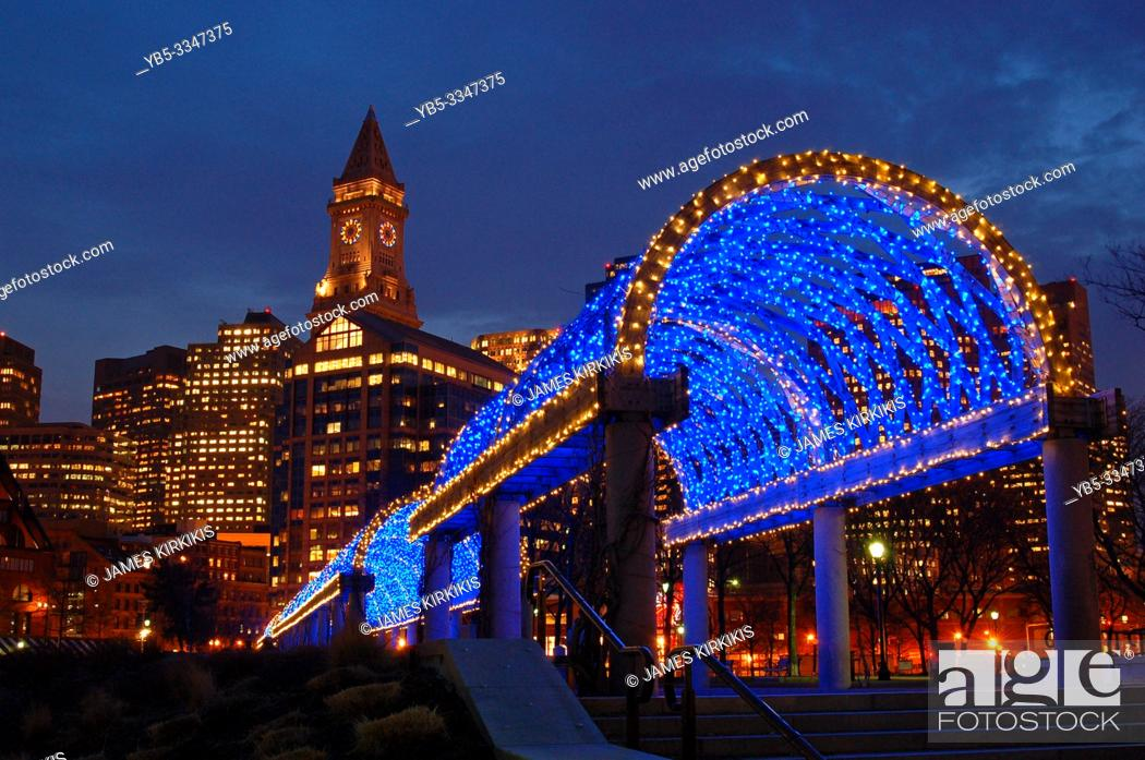 Stock Photo: A trellis in Boston is decorated for the Christmas season.