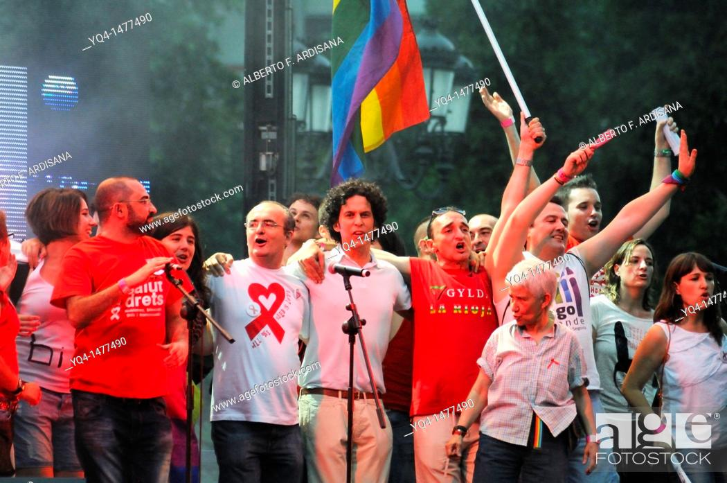 Stock Photo: Pedro Zerolo, PSOE Councillor on stage leading the gay pride demonstration in Madrid 2011.