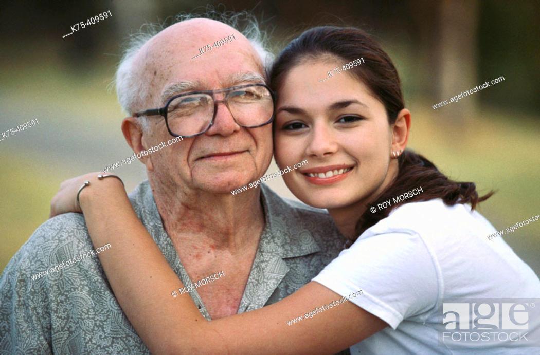 Stock Photo: Hugging grandpa.