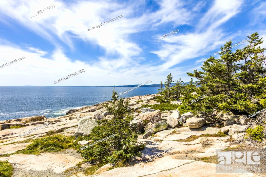 Stock Photo: Schoodic Peninsula on the Atlantic Ocean in Acadia National Park on the coast of Maine in the United States.