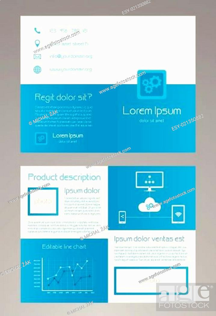Vecteur de stock: Business brochure template in modern blue and white design with a lot of icons and a line chart.