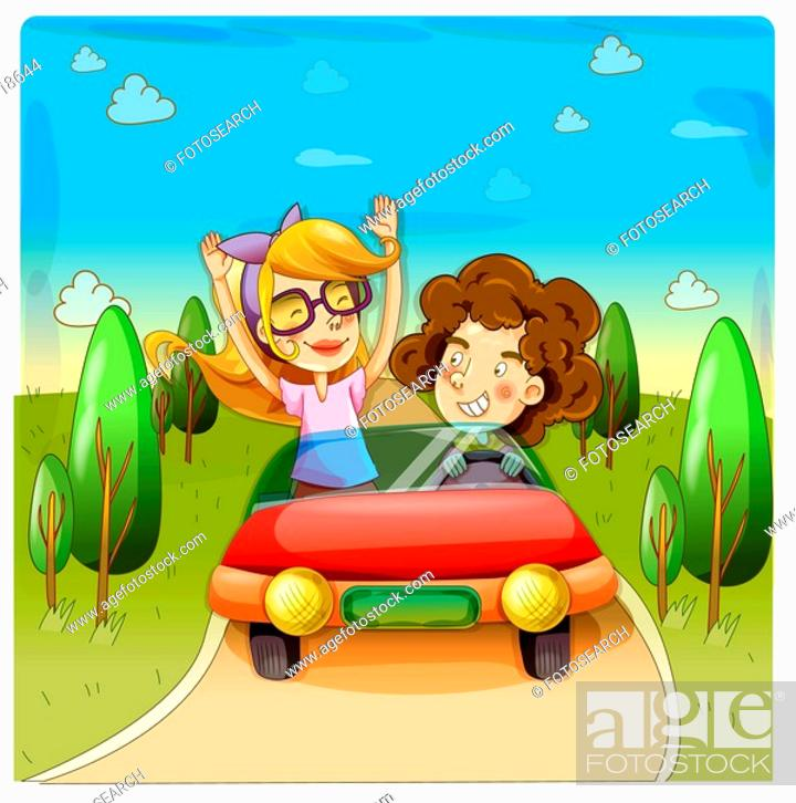 Stock Photo: tree, nature, car, drive, country, trip.