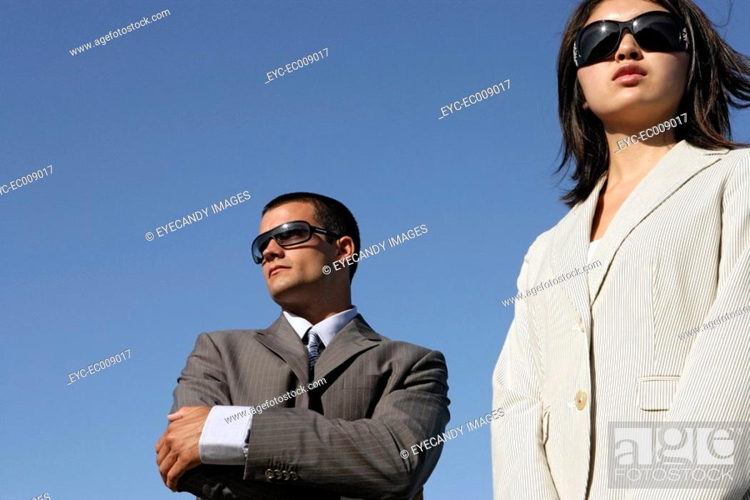 Stock Photo: View of two professionals.
