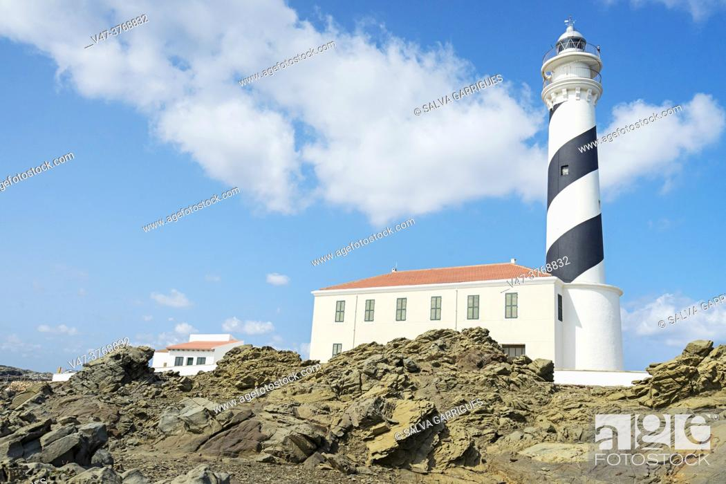 Stock Photo: The Favarich lighthouse (or Favàritx, in Catalan) is located in Menorca, an autonomous community of the Balearic Islands, Spain, at Cape Favarich.