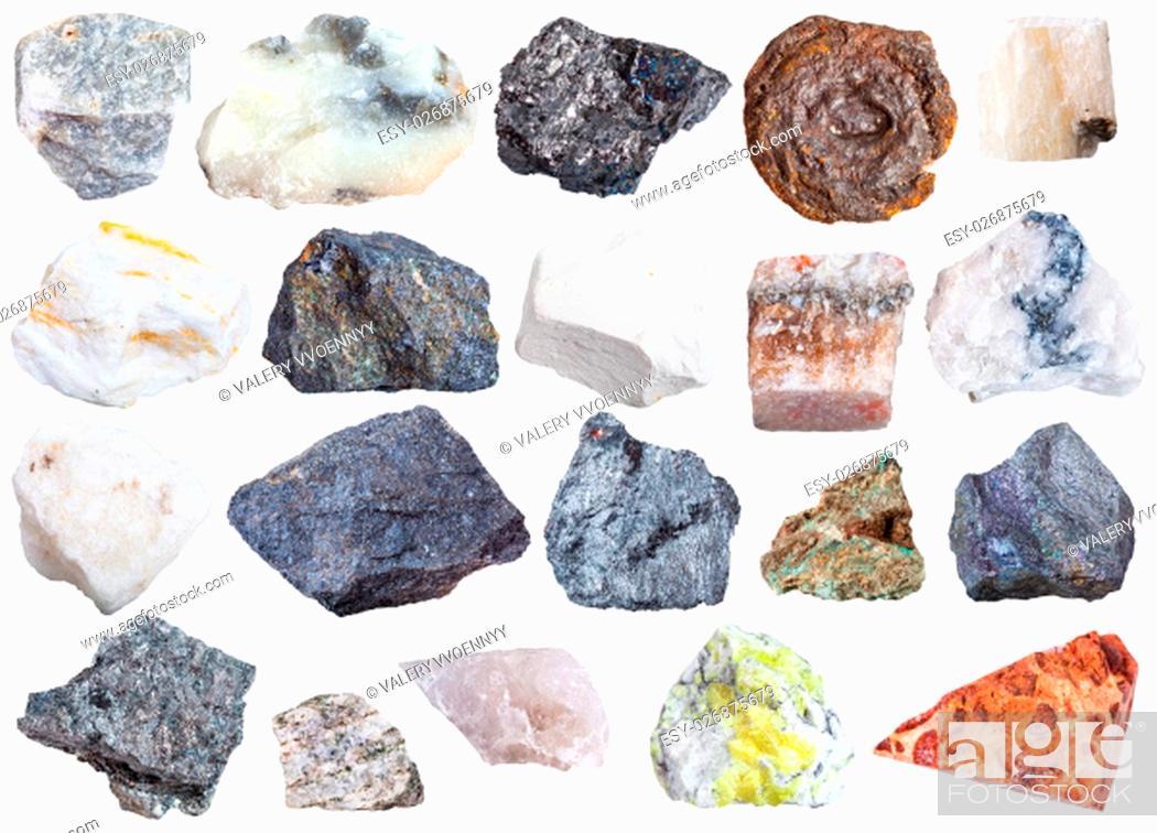 Stock Photo: collection of natural mineral specimens - apatite, anhydrite, chalk, molybdenite, bornite, halite, chromite, wolframite, antimonite, bauxite, barite, sulfur.