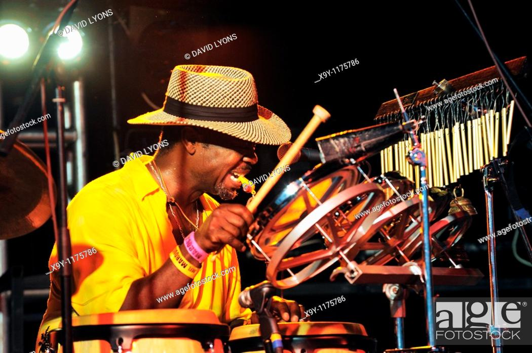 Stock Photo: Drummer in the Bex Marshall band performing in the main stage marquee  Maryport Blues Festival, 2010  Cumbria, England.