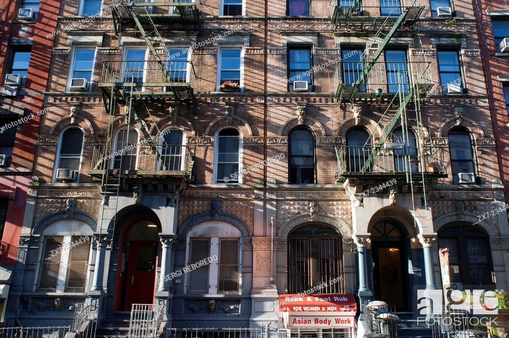 Stock Photo: East Village, alphabet city Emergency staris fire scape. New York. Alphabet City Apartments. House with Fire steps in Manhattan, New York City.