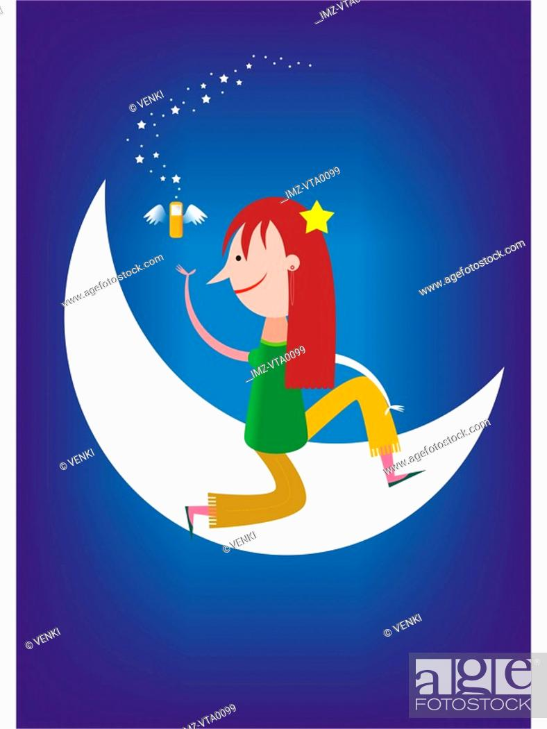 Stock Photo: A woman on a moon with a flying cell phone.