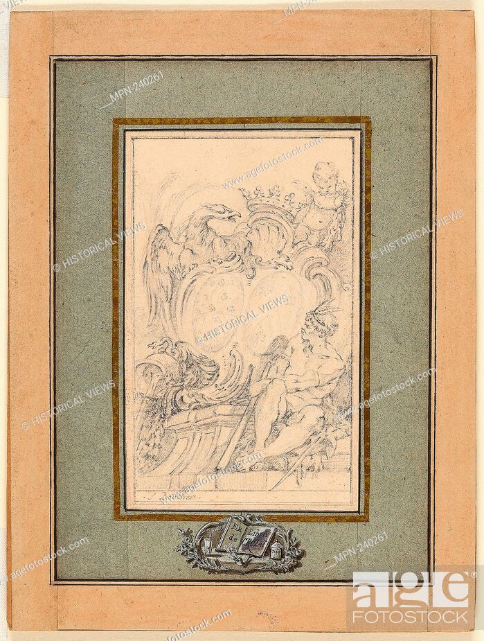 Photo de stock: Armorial Bookplate for Crozat, Baron de Thiers - c. 1753 - François Boucher French, 1703-1770 - Artist: François Boucher, Origin: France, Date: 1743-1770.