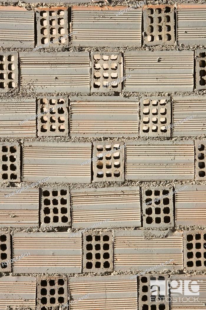 Stock Photo: Brick, Design, Close-Up, Brick Wall, Arrangement.
