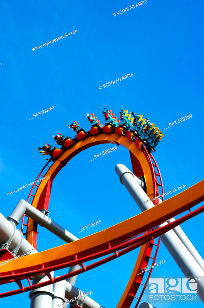 Stock Photo: Riders on rollercoaster ride, Knott's Berry Farm, California.