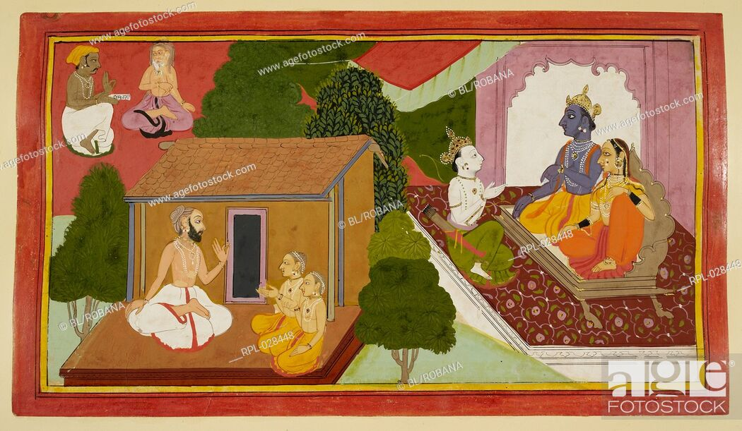 Imagen: Valmiki teaching the epic to Kusha and Lava is depicted in the foreground. The left background shows the spread of the epic to all the sages and ascetics.