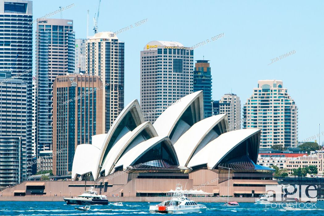 Stock Photo: Sydney Opera House and high rise office buildings at Circular Quay, Sydney, Australia.