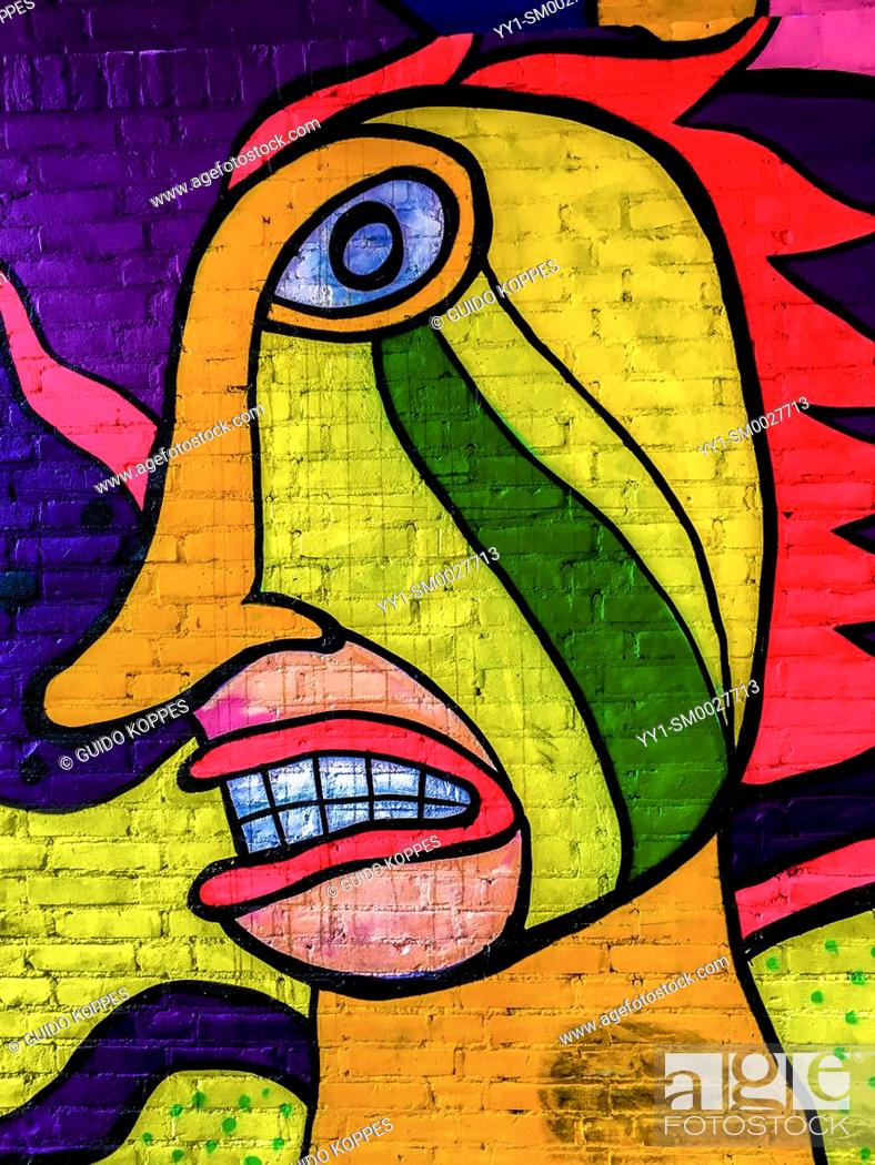 Stock Photo: Rotterdam, Netherlands. Colorfull Graffity & Mural, found on a sidestreet wall, somewhere down town.