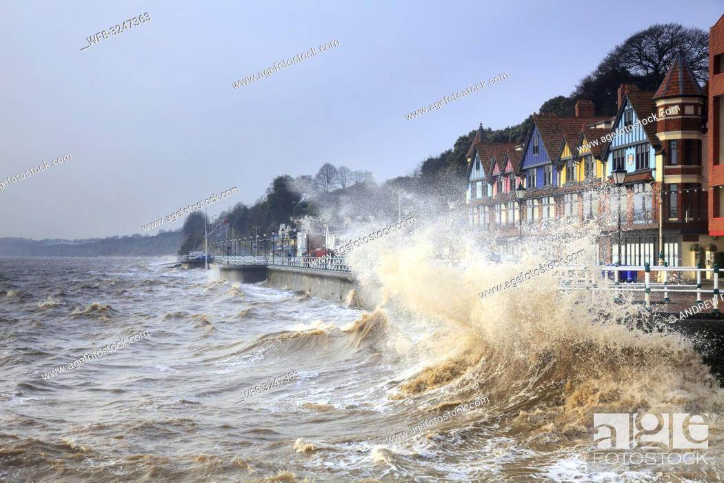 Stock Photo: Penarth in South Wales, captured on a stormy morning in mid February when high tide coincided with sunrise.