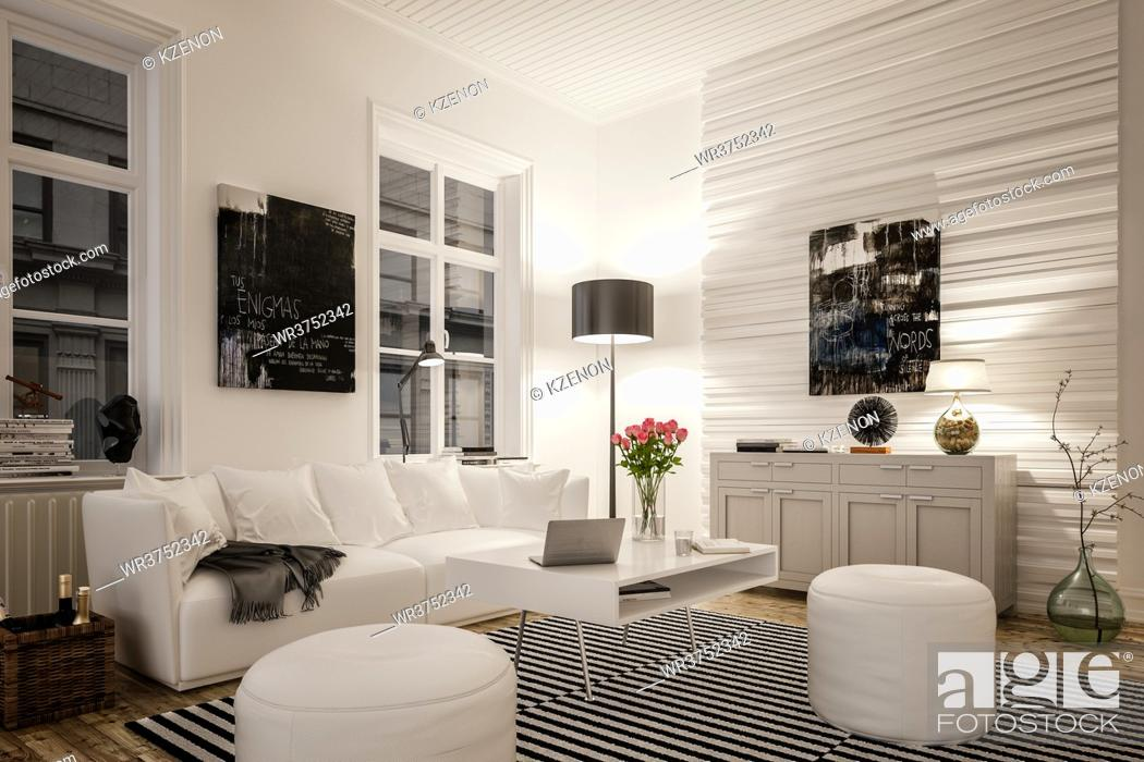 Photo de stock: Interior of modern living room with illuminated lamp.