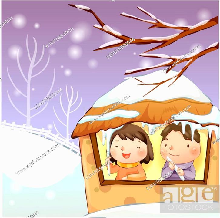 Stock Photo: holding, snow, couple, boy, girl, child.