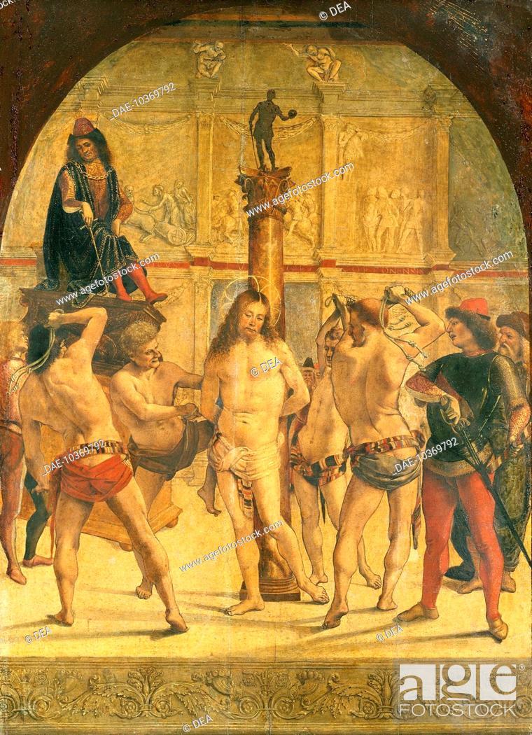 Stock Photo: The Flagellation of Christ, by Luca Signorelli (ca 1445-1523).  Milan, Pinacoteca Di Brera (Art Gallery, Paintings).