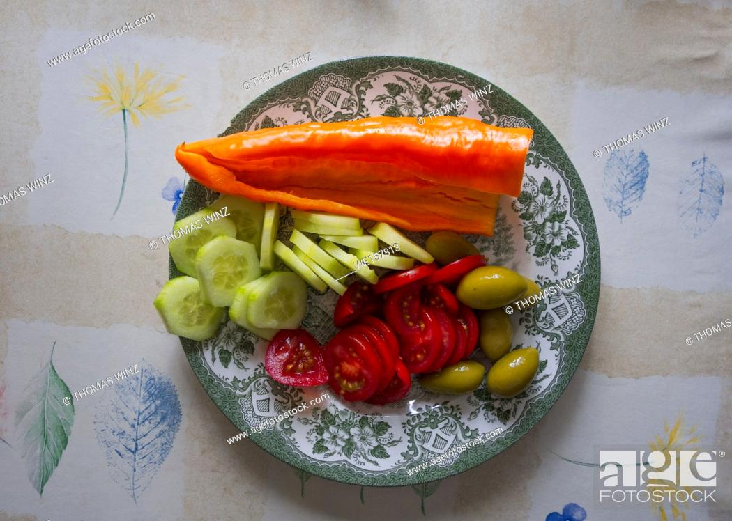 Stock Photo: Raw vegetables on a plate.