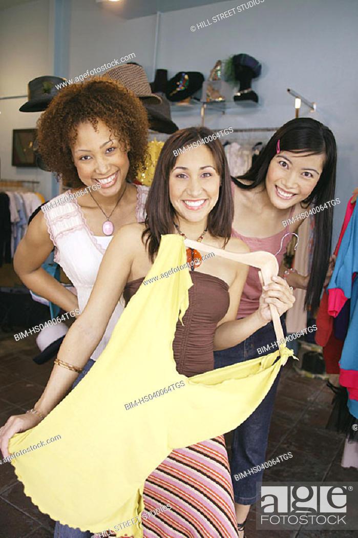 Stock Photo: Portrait of women shopping.