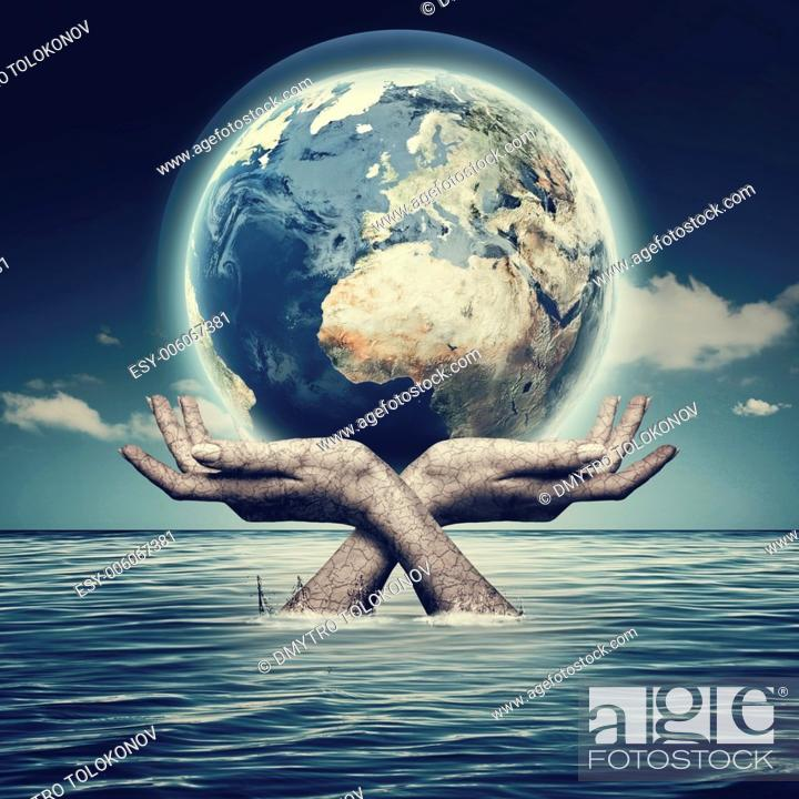 Stock Photo: Whole world in her hands, abstract environmental backgrounds.