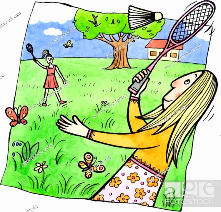 Stock Photo: Two women playing badminton outdoors.