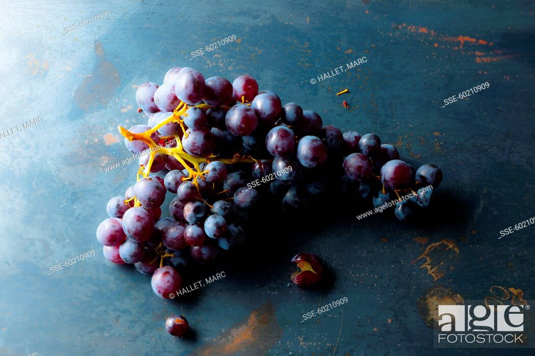 Stock Photo: Bunch of black grapes.