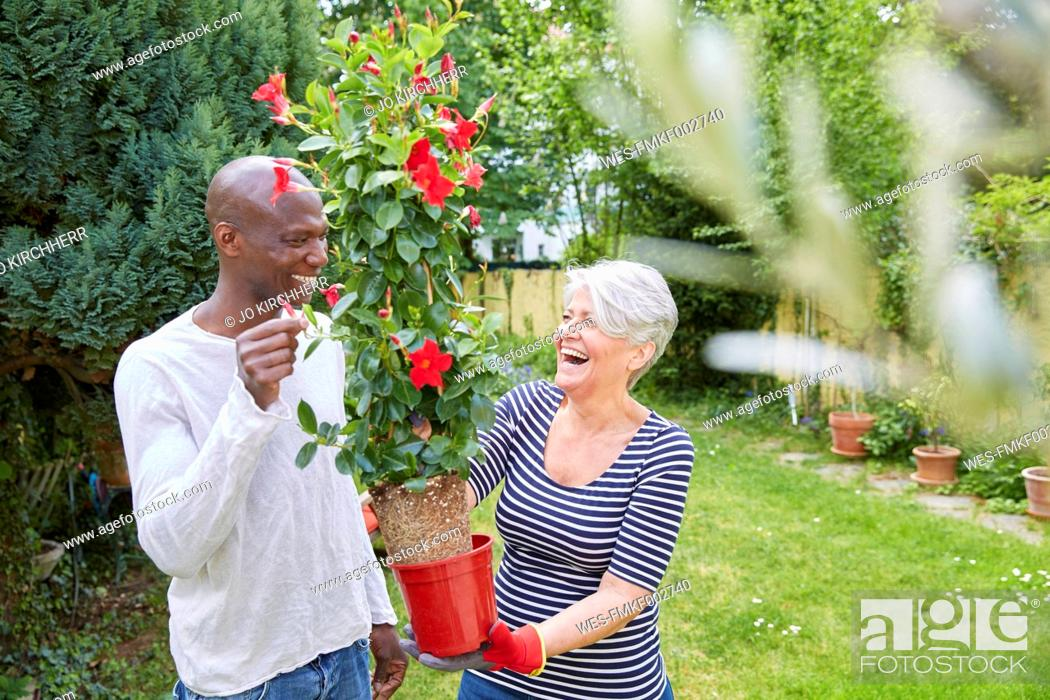 Stock Photo: Laughing neighbours in the garden.