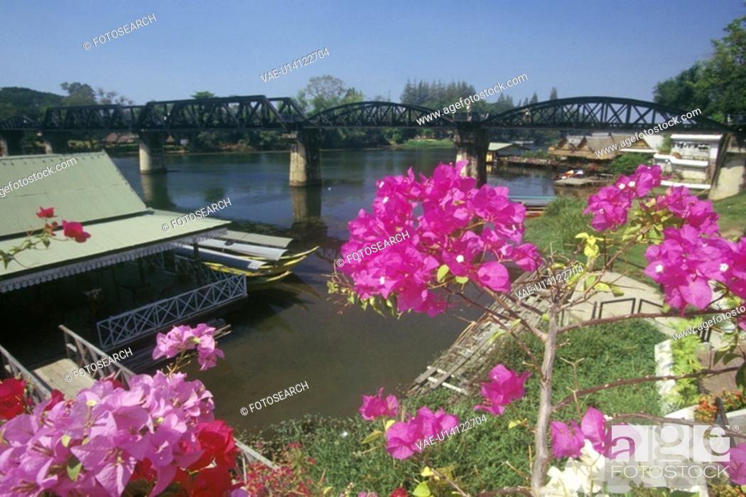 Stock Photo: Bridge over River Kwai, Kanchanaburi, Erawan National Park.