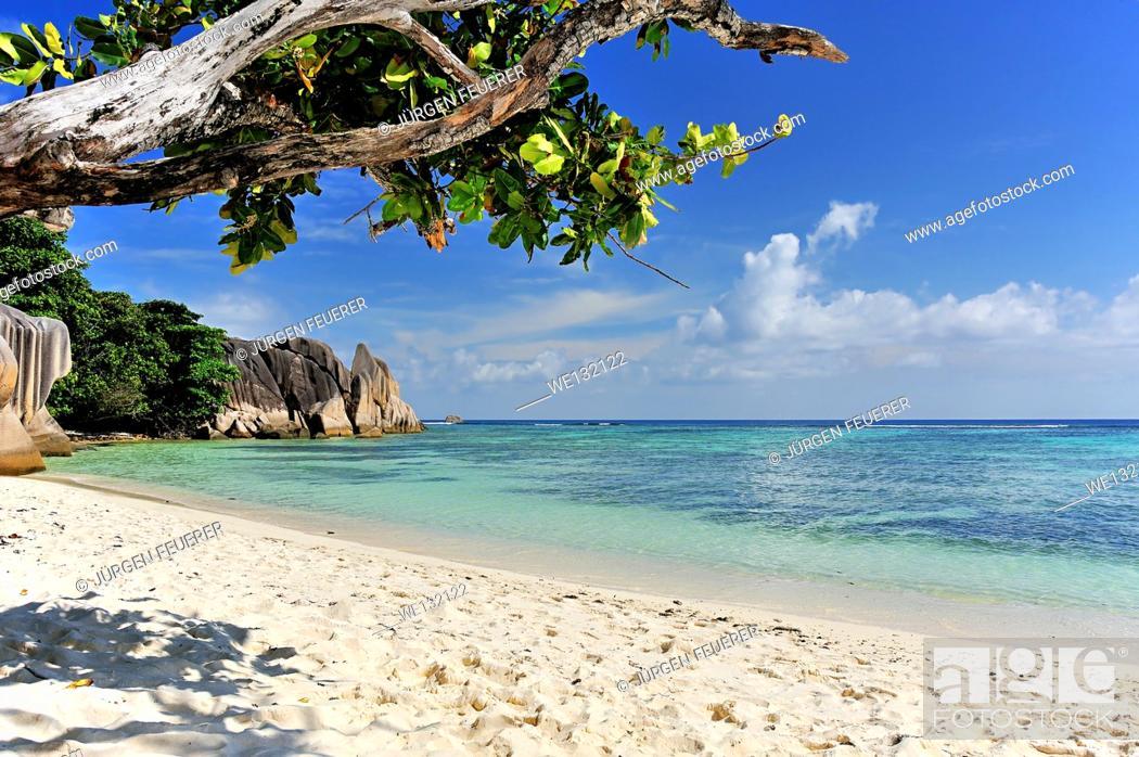 Stock Photo: Source d'Argent, Beach on island La Digue, Seychelles.