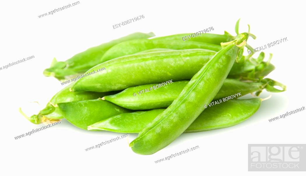 Stock Photo: Pile of fresh green peas sugar in the pods isolated on white background.