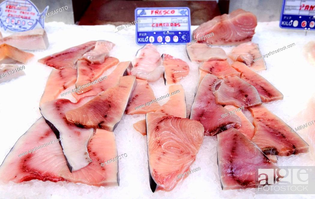 Stock Photo: Pieces of tuna on sale in a fish stall in the central market, mercado central of Valencia, Spain, Europe.