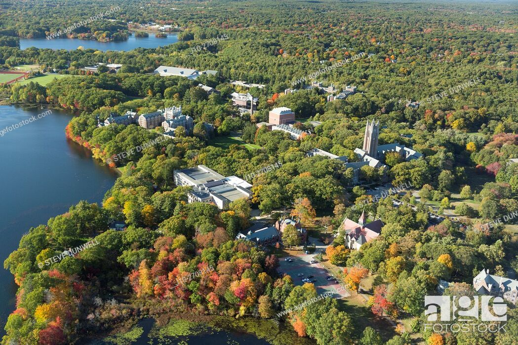Stock Photo: Wellesley College, Wellesley, MA aerial autumn, USA.