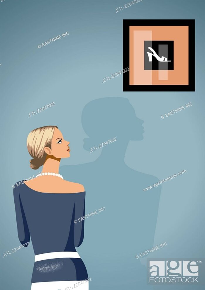 Stock Photo: Rear view of a woman looking at a painting of sandal on a wall.