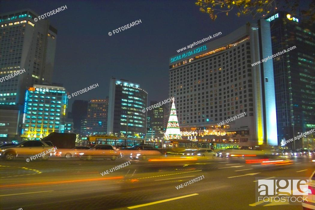 Stock Photo: city, light, landscape, scenery, christmas, night.